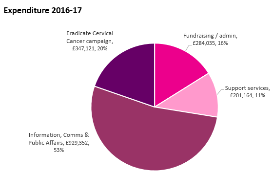 Jo's Cervical Cancer Trust Expenditure 2017