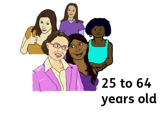 A group of women aged 25 to 64 years old