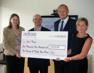 Pelican present donation to Jo's Cervical Cancer Trust
