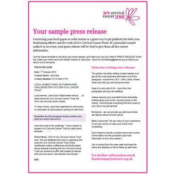 Digital Product Sample Press Release Jos Cervical Cancer Trust