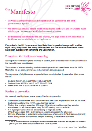 Jo's Cervical Cancer Trust manifesto